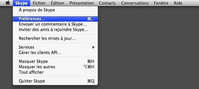 Menu skype mac