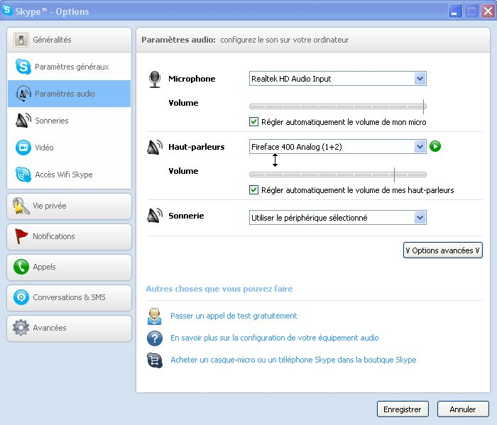 options audio skype windows