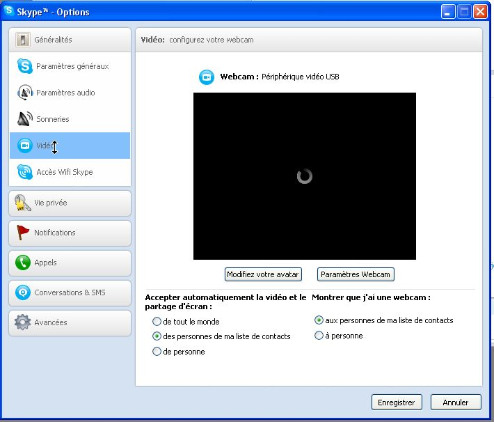 options video skype windows