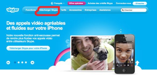 page d'accueill skype