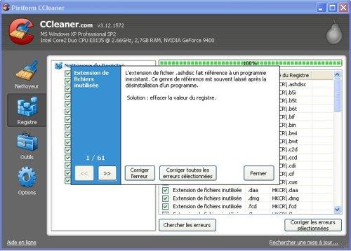 corriger registre ccleaner