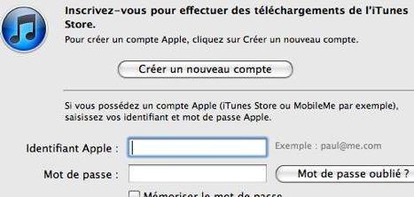 Création nouveau compte apple