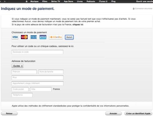 Page mode de paiement aucun appstore