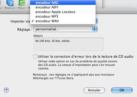 option de format AAC d'encodage Itunes