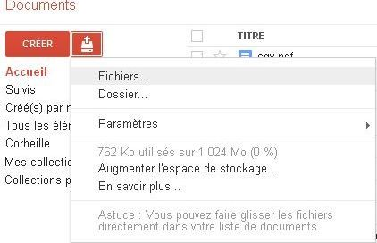 Importer fichier google document