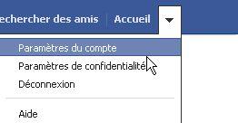 paramètre du compte facebook