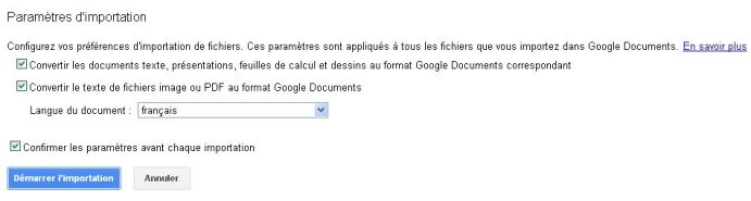 option Importation fichiers google document