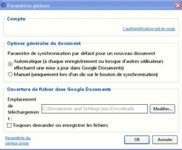 paramétrage synchronisation google office