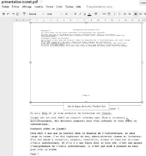 pdf importé en texte modifiable dans google docs