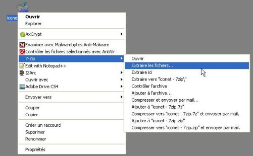 decompresser archive avec 7zip