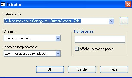 extraction archive avec 7zip