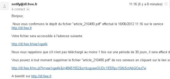 Mail confirmation envoi gros fichiers Free