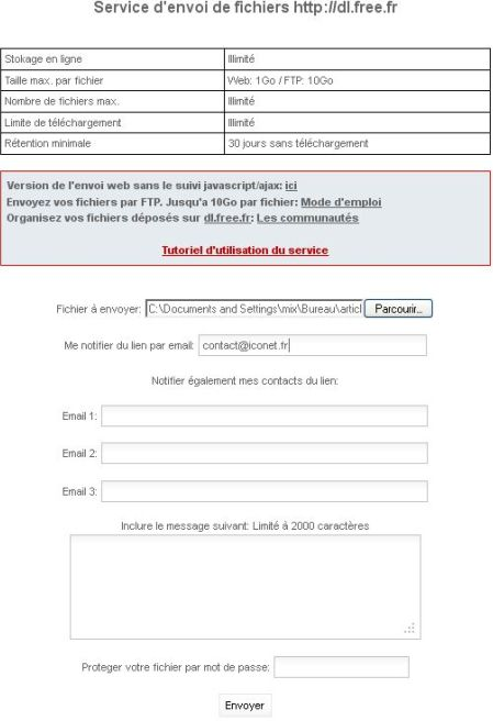 free.fr envoi gros fichiers