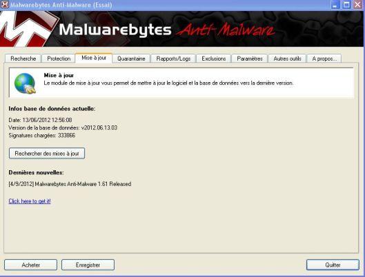 mise a jour malwarebytes