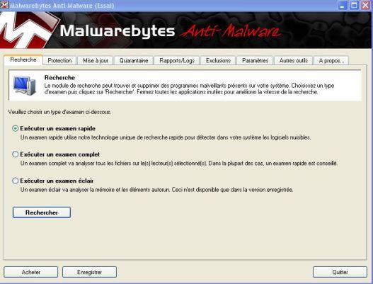 recherche rapide malwarebytes