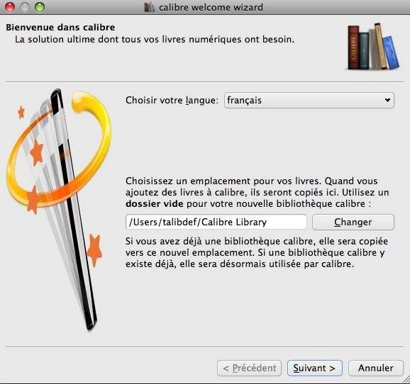 Parametrage langue et emplacement logiciel ebook calibre