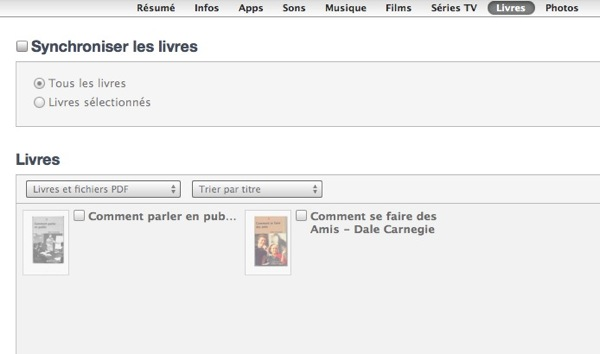 Synchroniser ebook sur iphone