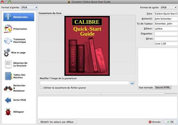 fenetre conversion ebook calibre